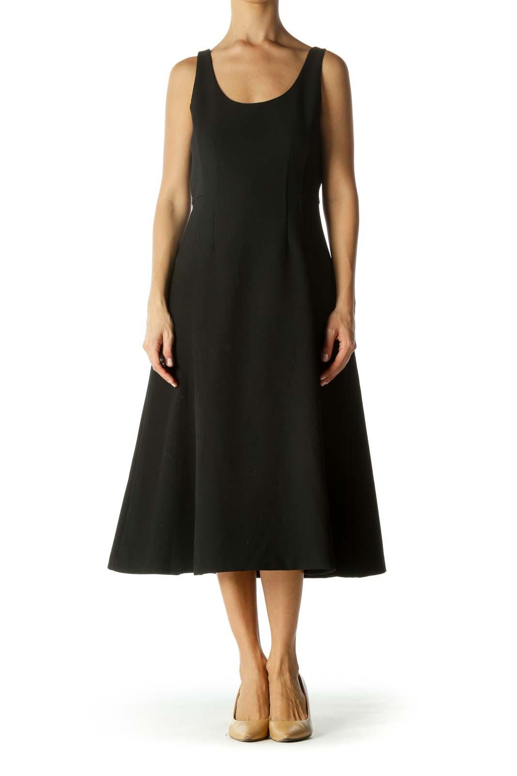 Black Round Neck Textured Medium-Weight Stretch A-Line Dress