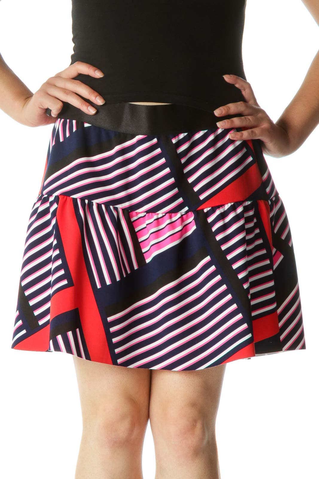 Multicolor Elastic Waist Stretch Flared Skirt