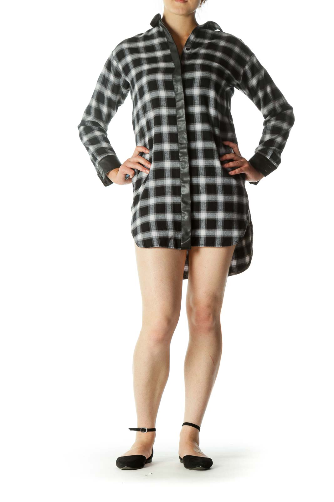Black & White Button-Down Plaid Knit Dress