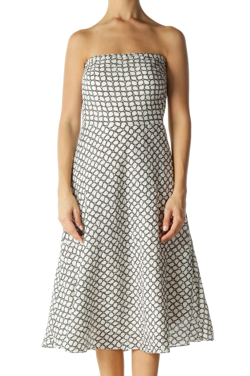 White & Brown Patterned Strapless Dress