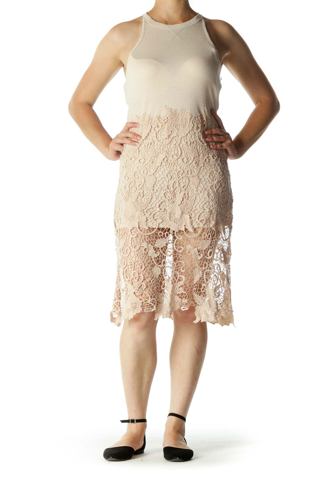 Beige Round Neck Crochet Lace Knit Dress