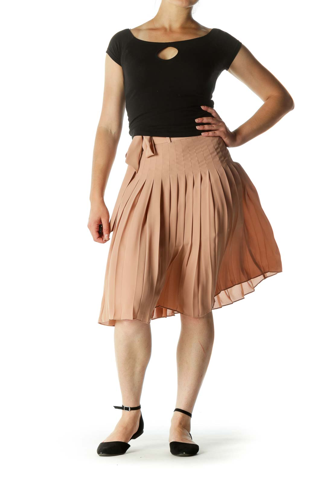 Beige Pleated Belted Zippered Mid-Length Skirt