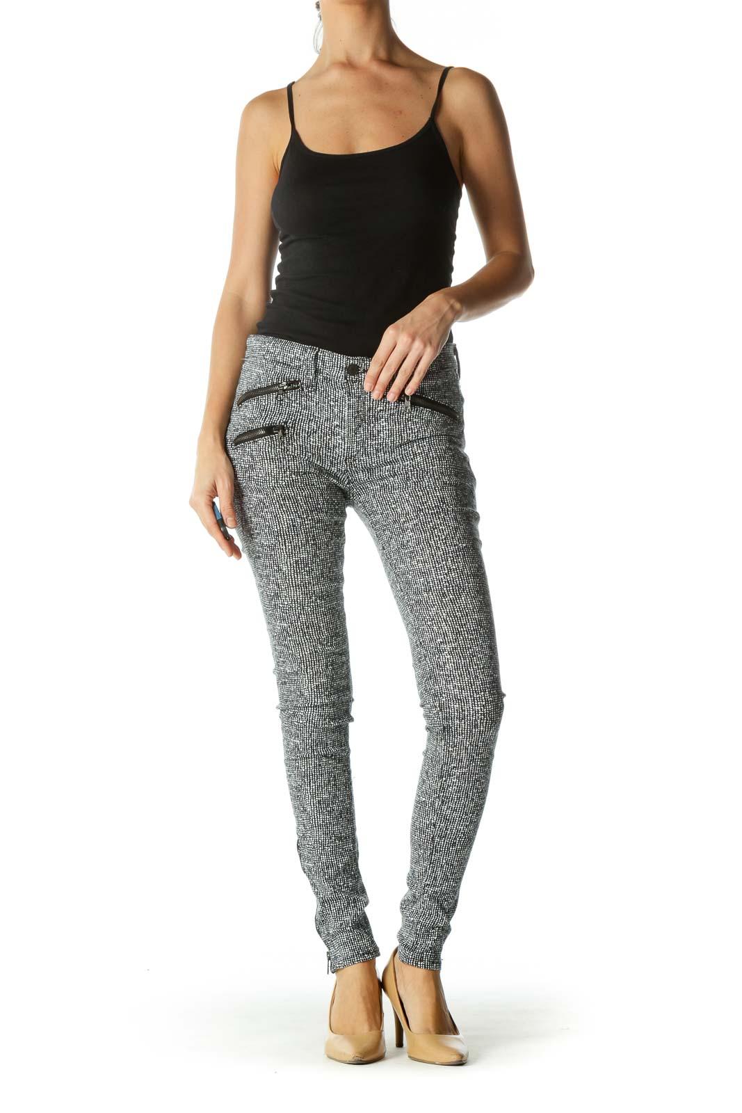 Black White Pattern & Zip Details Skinny Jeans
