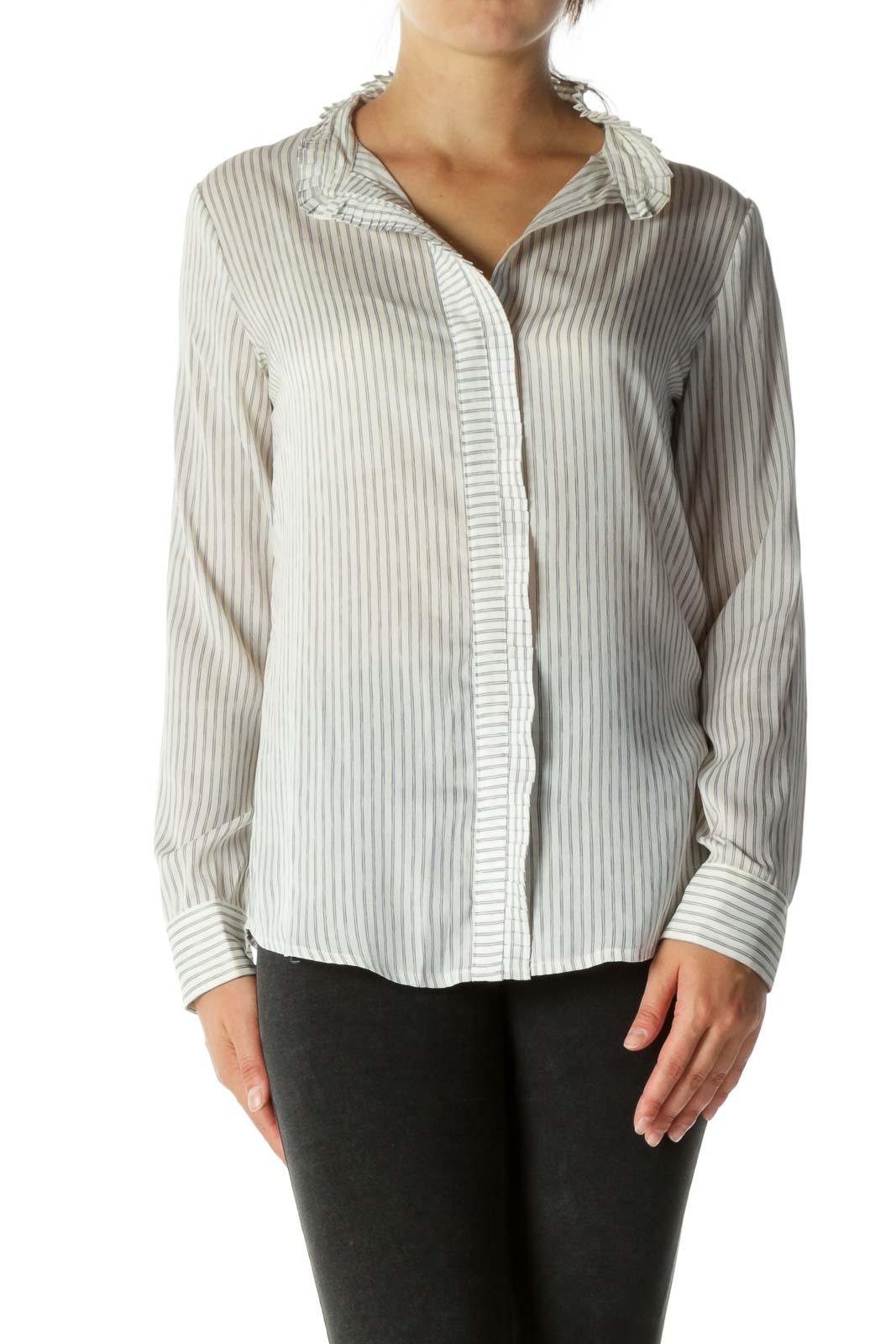 Gray White Striped Trim Pleating Detail Shirt