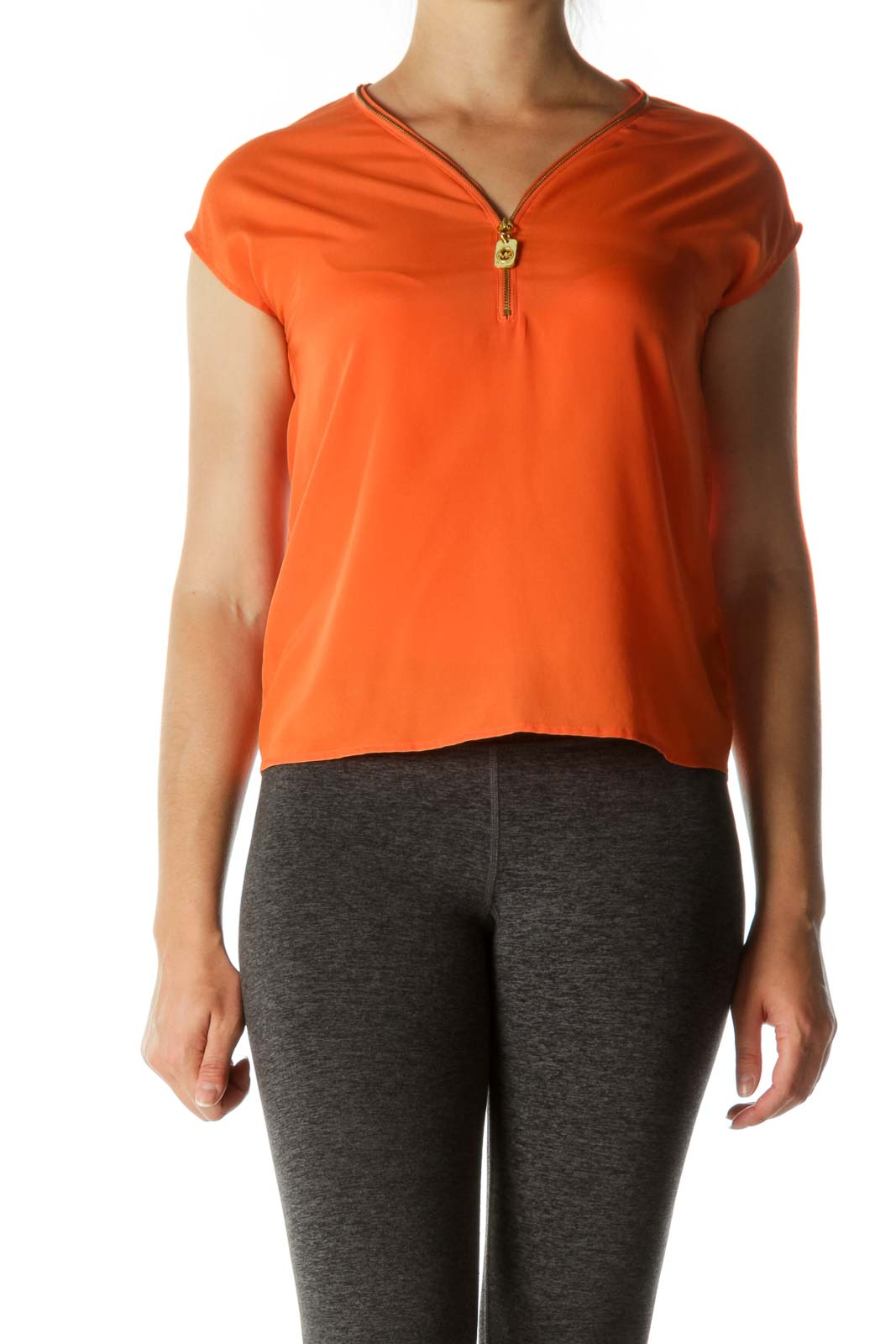 Orange Gold Hardware Zippered Cap Sleeves Top