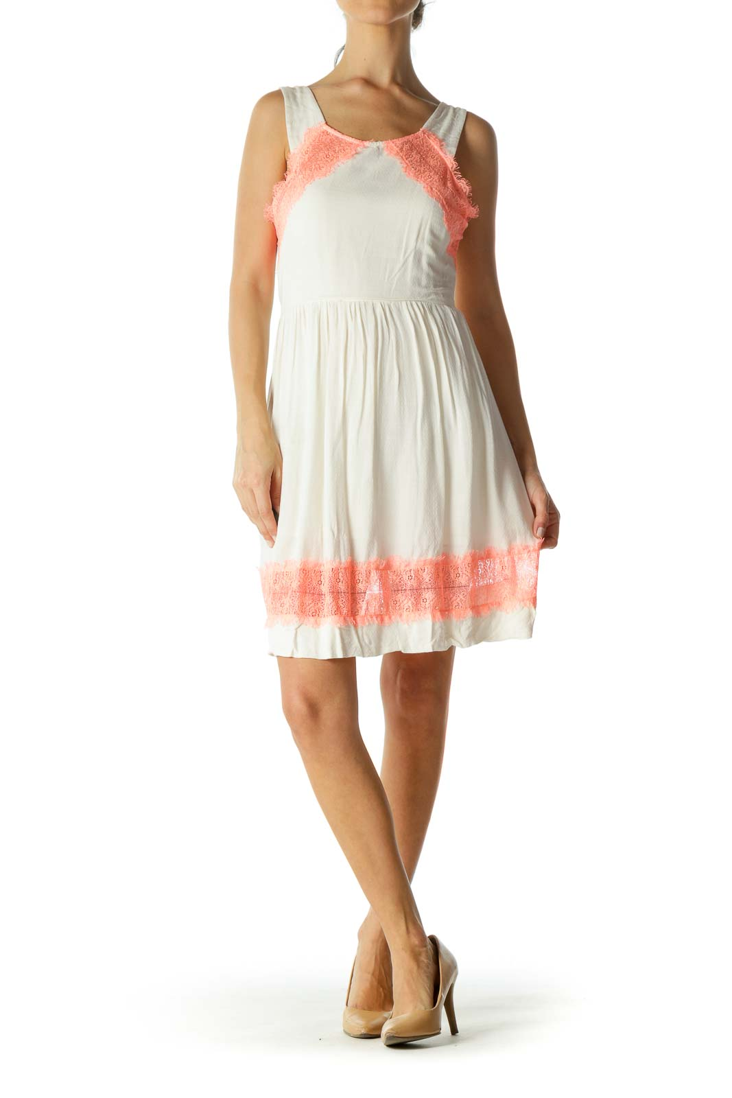 Cream Bright Orange Round Neck Knit Lace Trim Day Dress