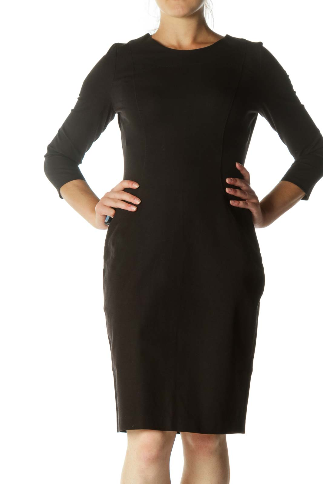 Black Round Neck Stitching Detail Long Sleeve Stretch Work Dress