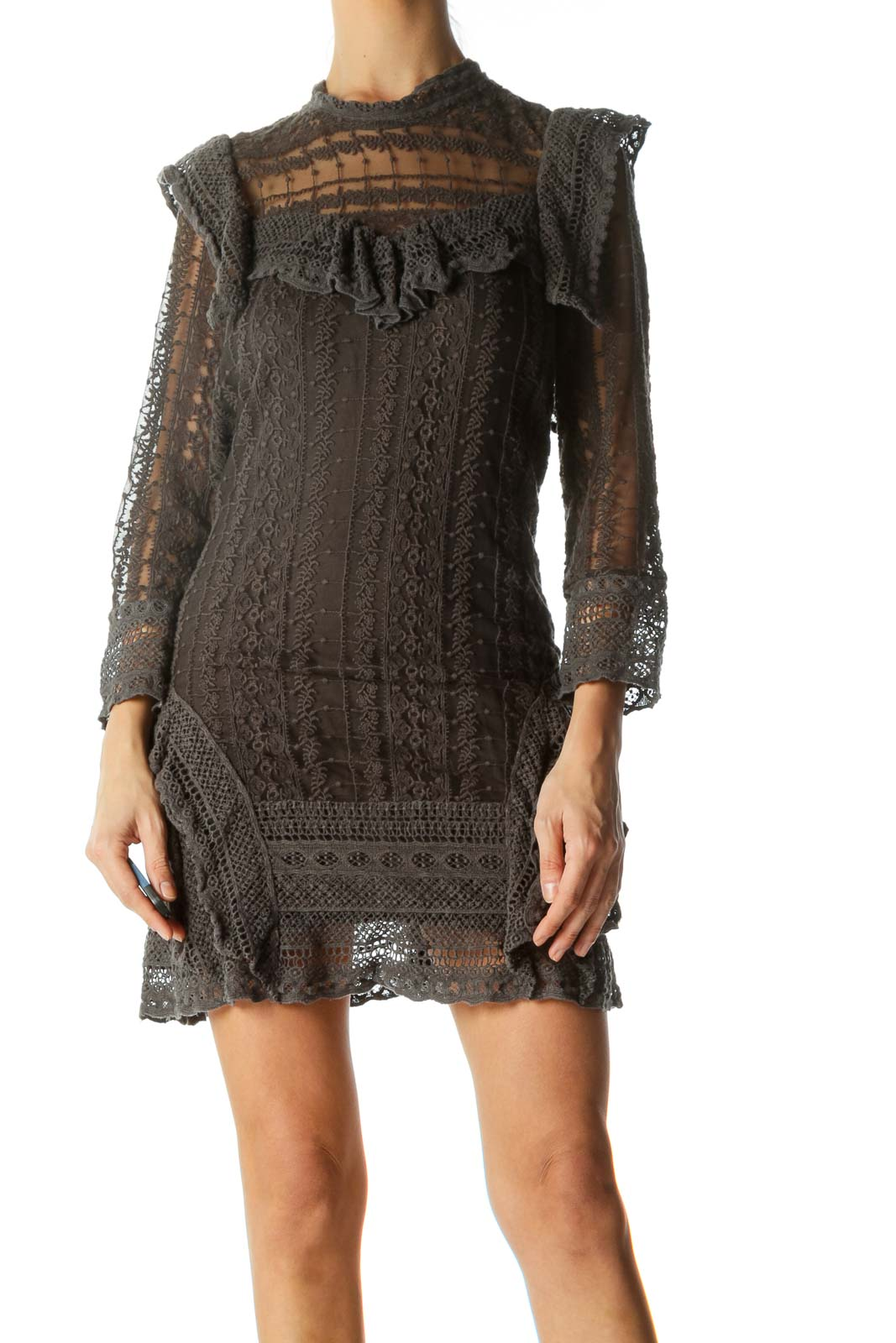 Gray Round Mock-Bib Neck Long Sleeve Lace Knit Dress