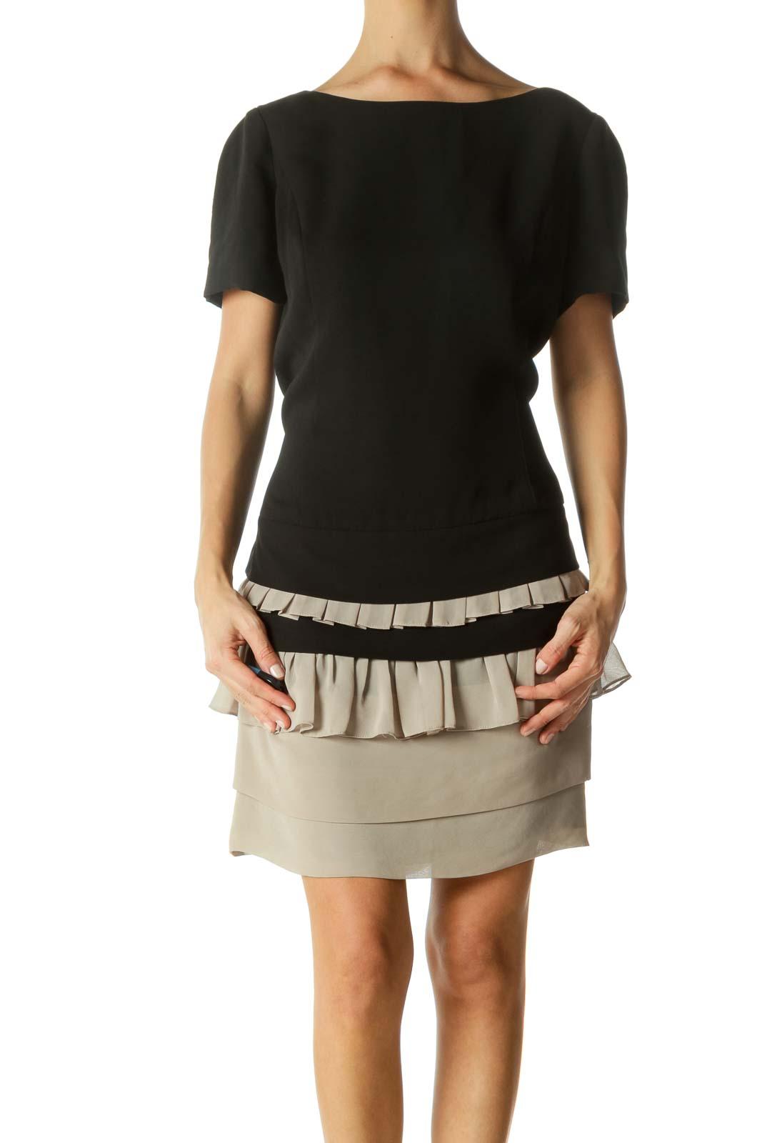 Black Beige Round Neck Short Sleeve Flared Cocktail Dress