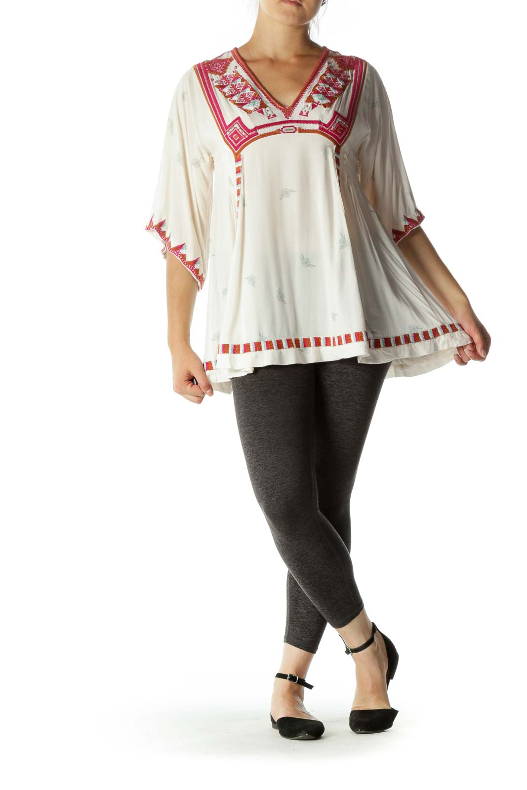 Cream Multicolored Embroidered V-Neck Print Tunic Top