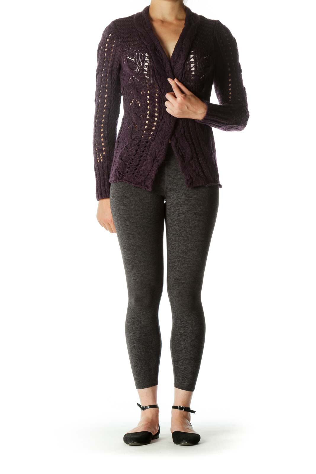 Purple Knit Chunky Open Cardigan