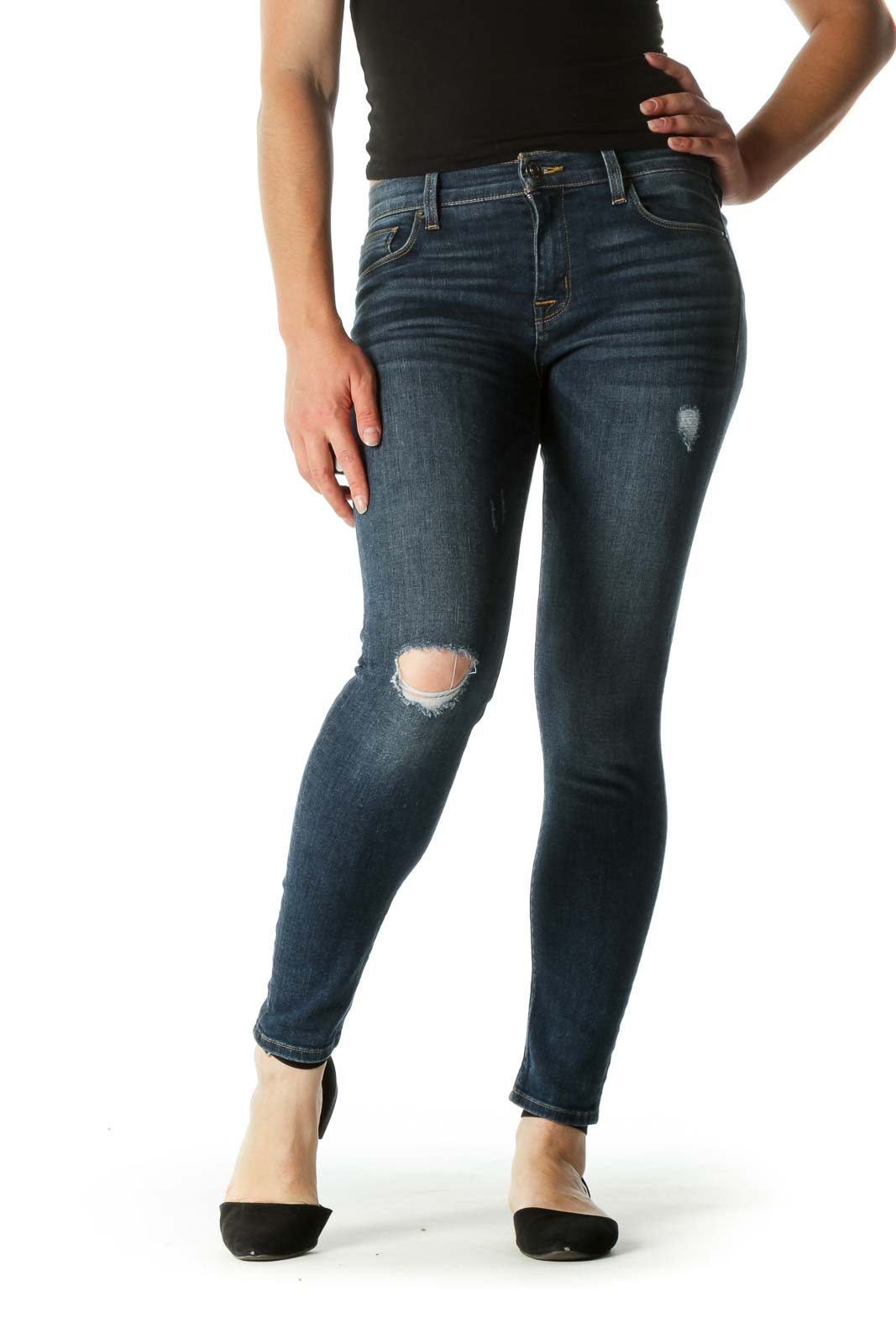 Blue Dark Wash Distressed Jeans