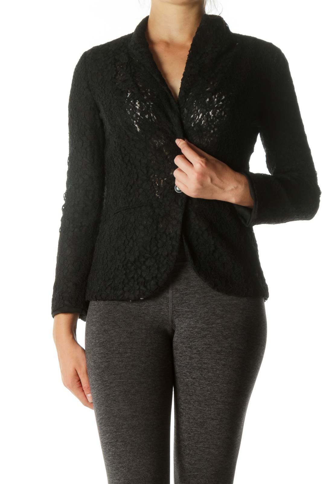 Black Lace Padded Shoulder Blazer