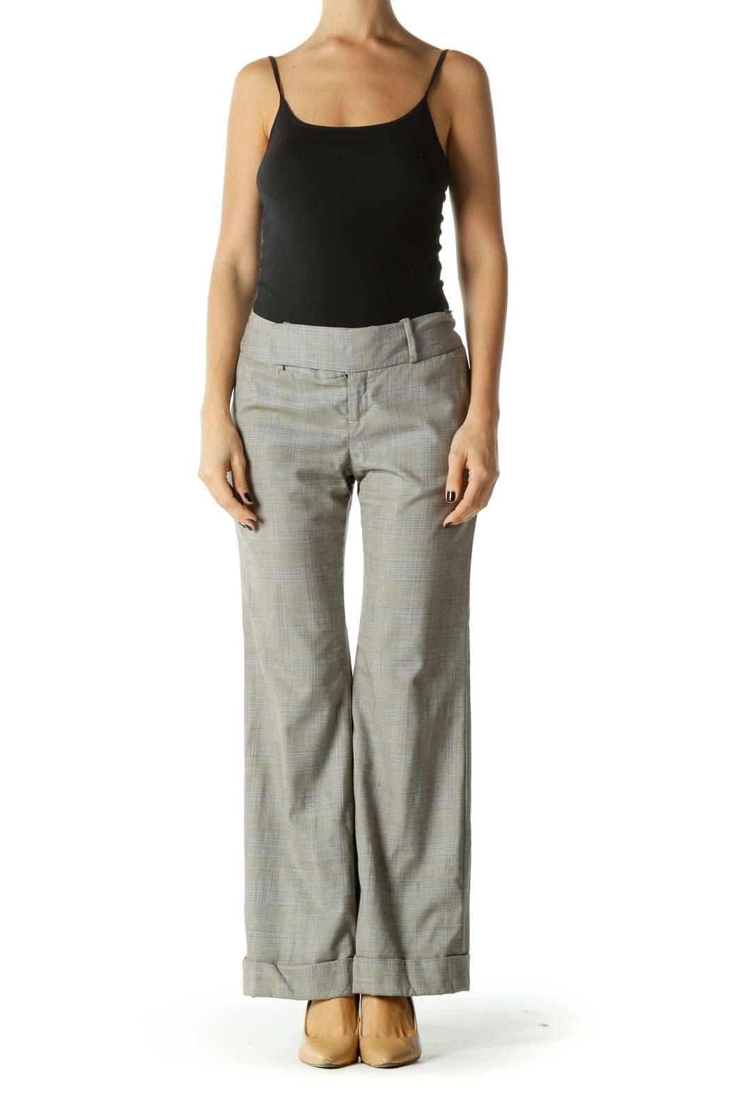 Gray Glen Check Folded Hem Straight Leg Pants