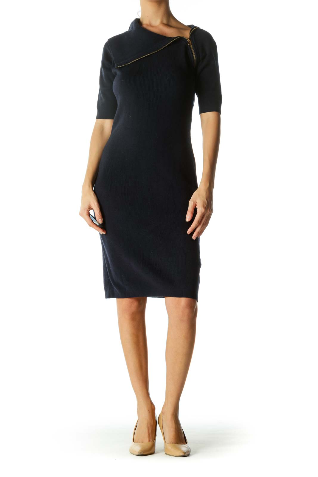 Navy Asymmetric Turtle Neck Bodycon Knit Dress
