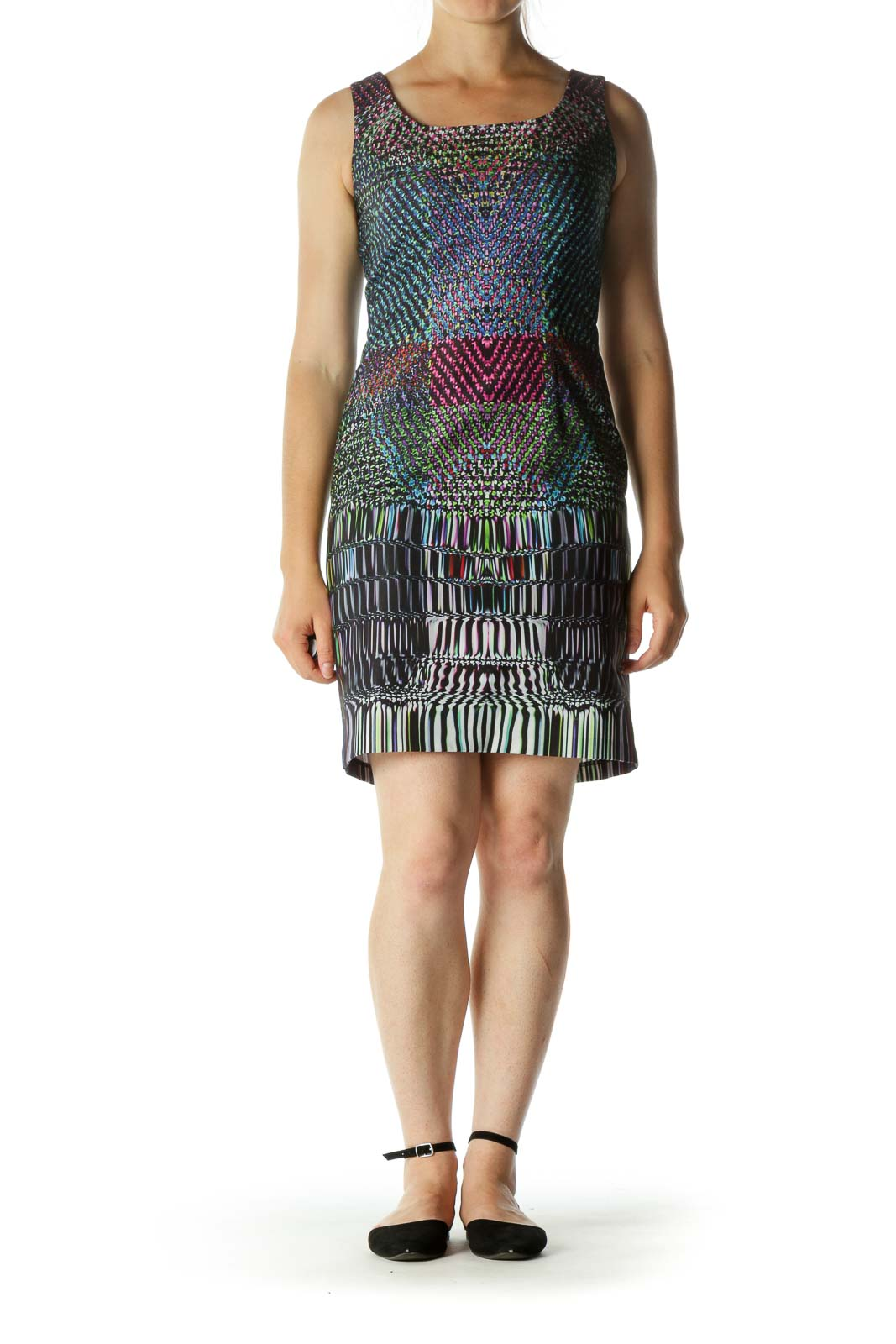 Multicolor Round Neck Sheath Dress
