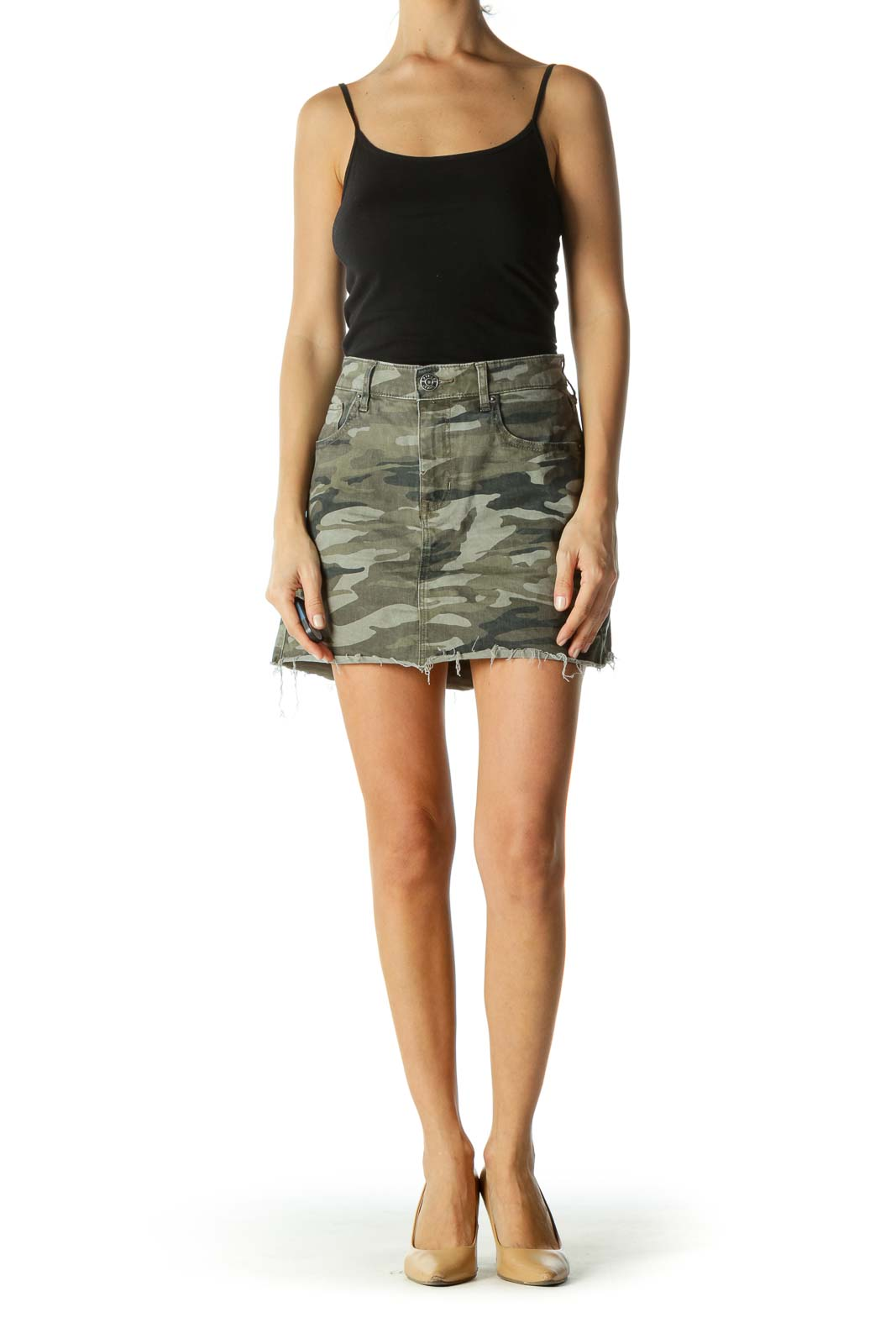 Green Camouflage Raw Hem Stretch Skirt