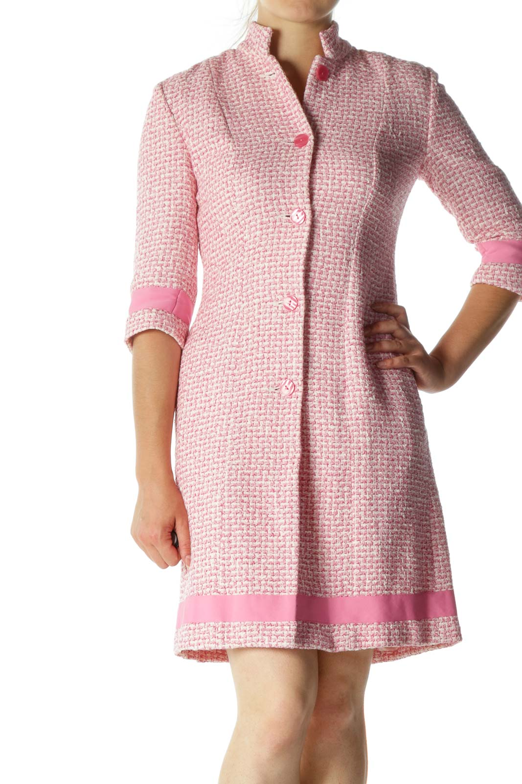 Pink Tweed Long Coat