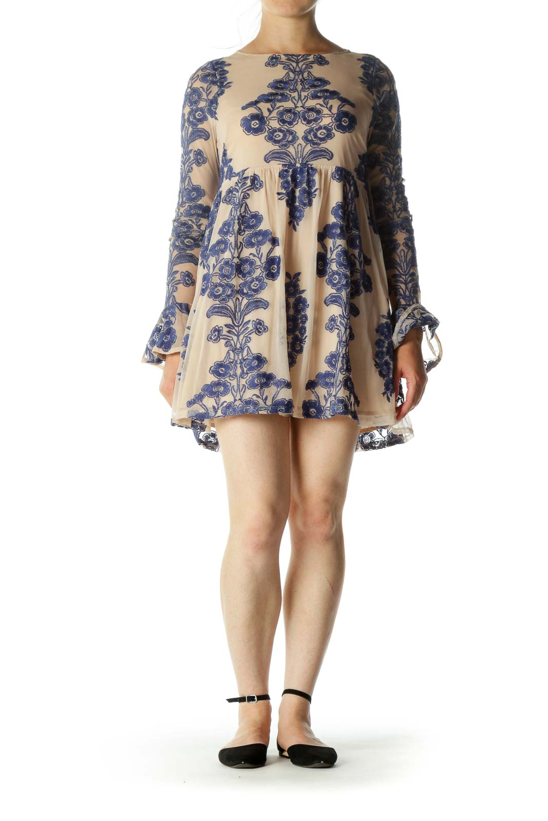 Blue Beige Round Neck Floral Embroidery Lace Body Cocktail Dress