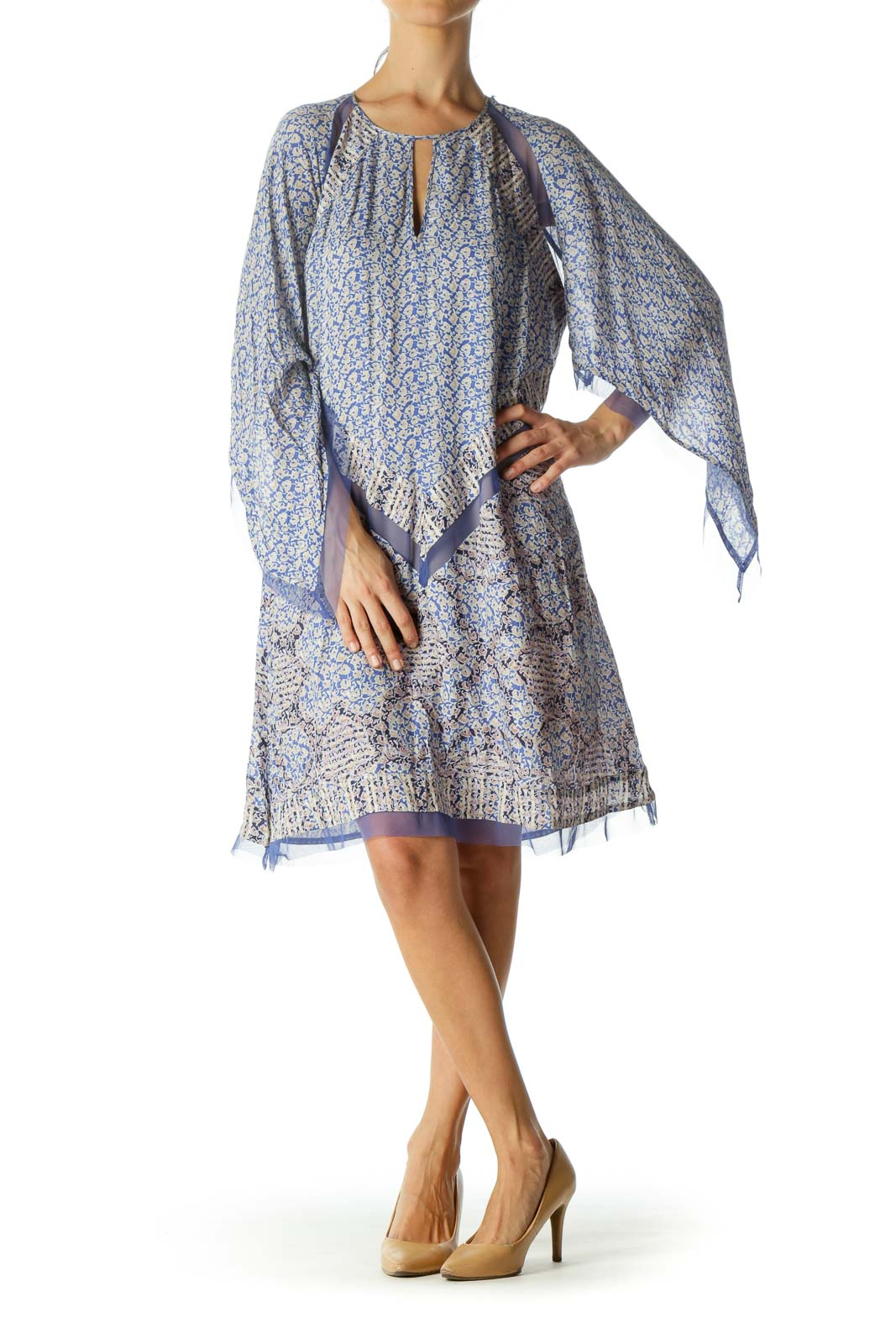 Blue Beige Floral Print Lace Detail Stretch Day Dress