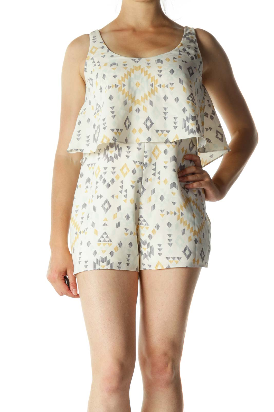 Cream Blue Yellow Print Flared Back V Romper