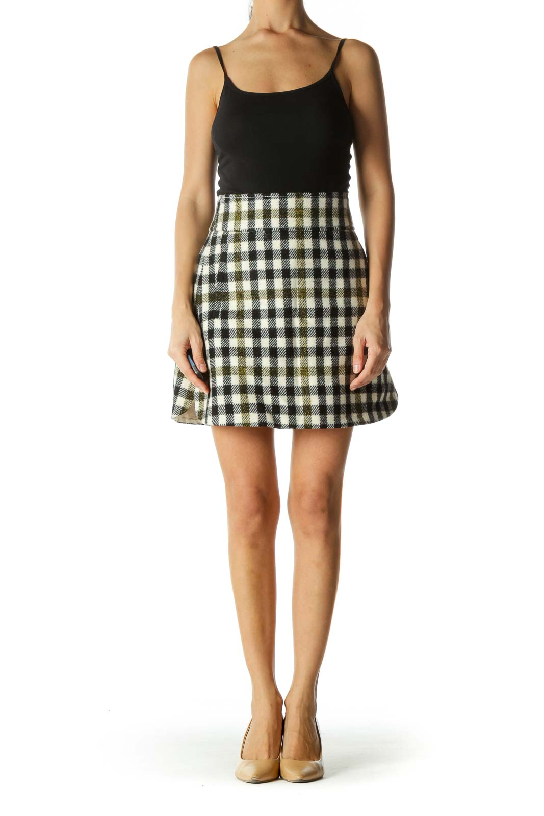 Black and Cream Plaid Flared Skirt