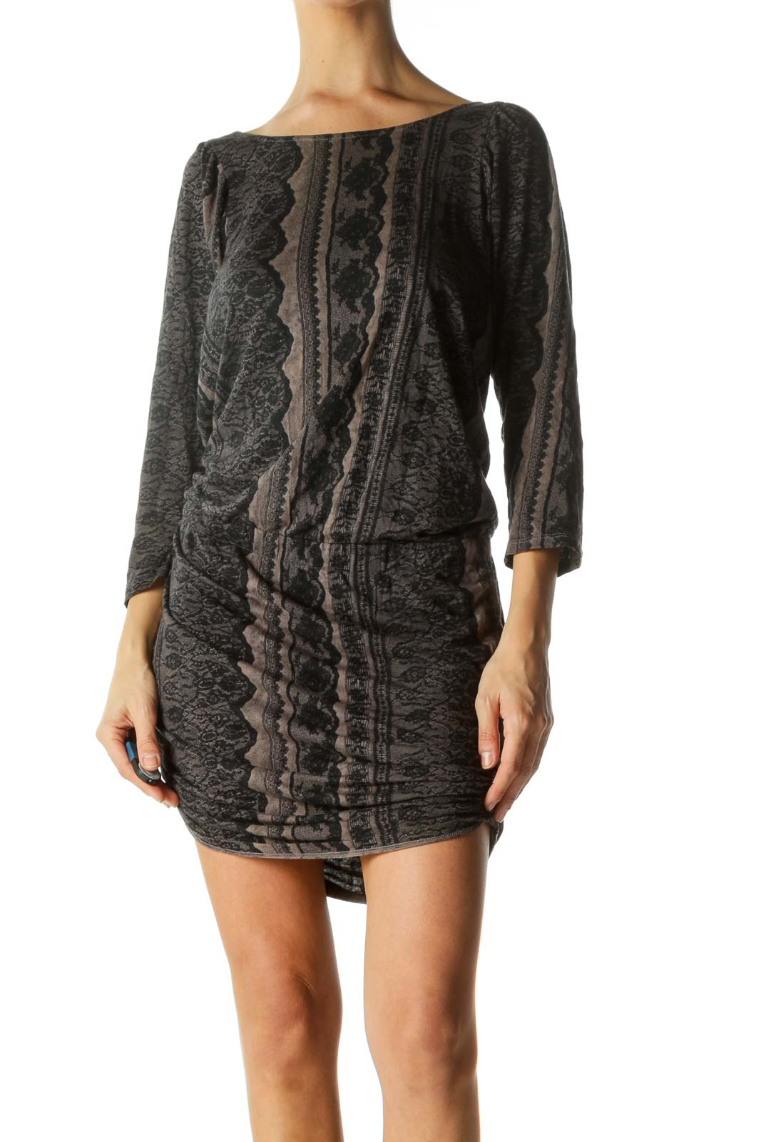 Black Brown Silk Blend Lace Print 3/4 Sleeve Stretch Day Dress