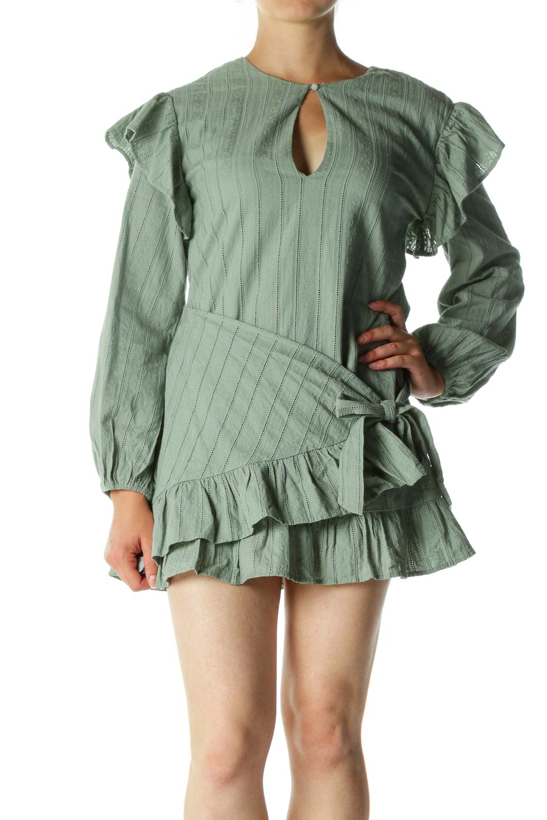 Green Textured Knitted Long Sleeve Front Wrap Dress