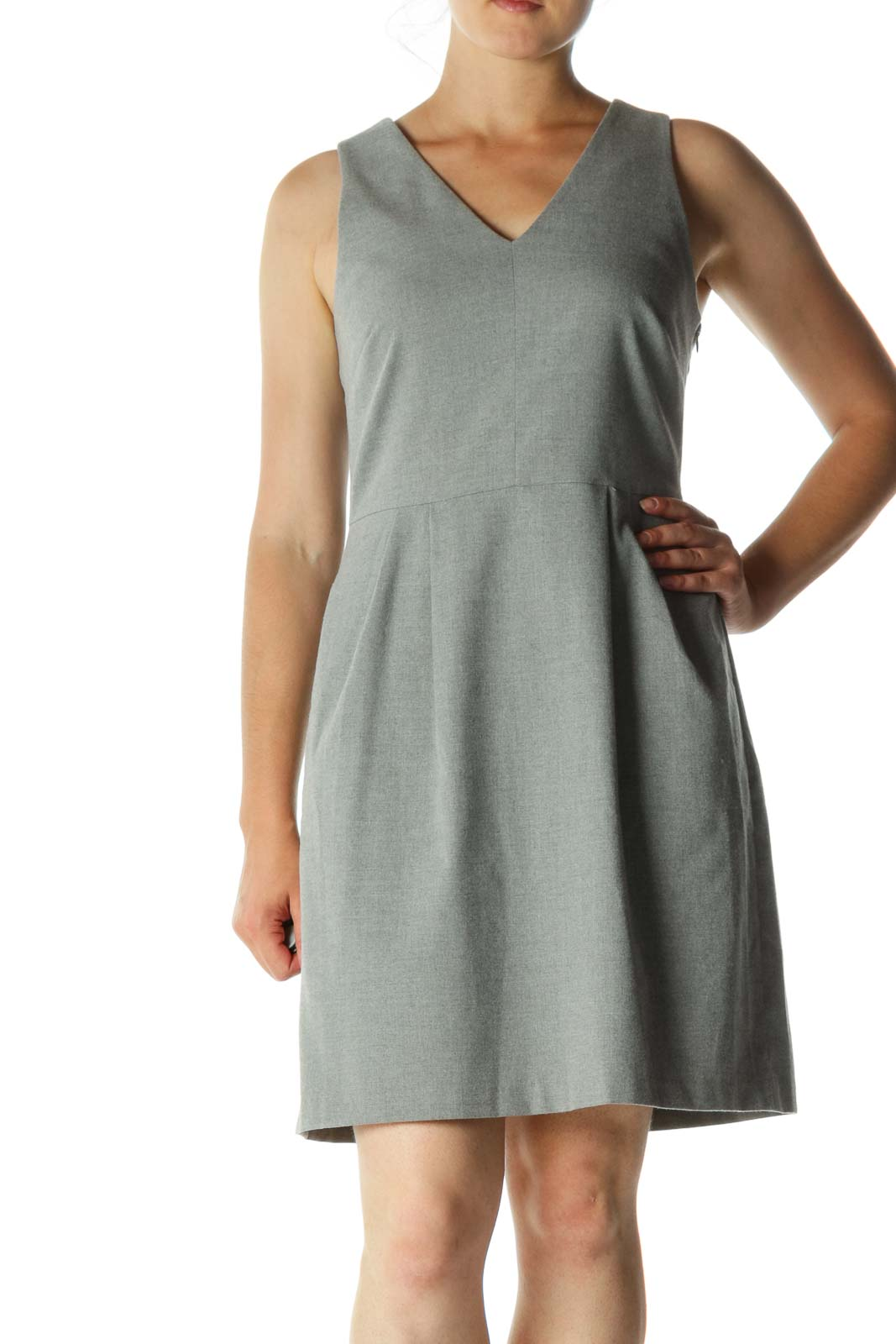 Gray V-Neck Back Bow Pleated Pocketed Work Dress