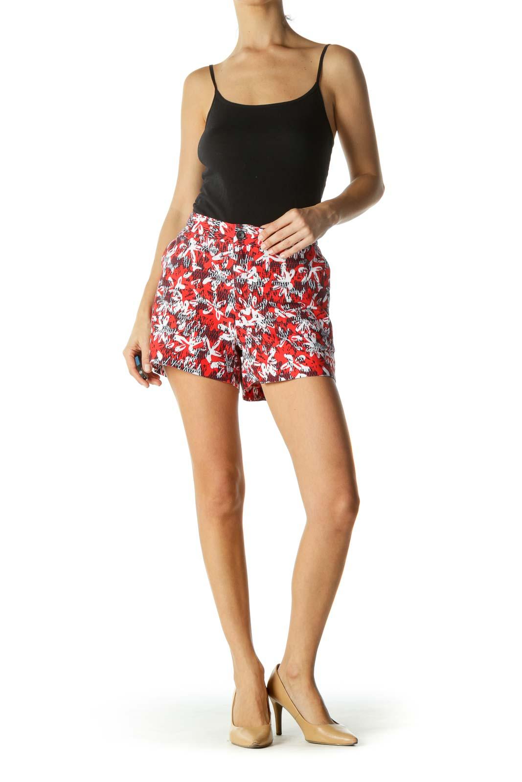Orange Red White Blue Print Pocketed Shorts