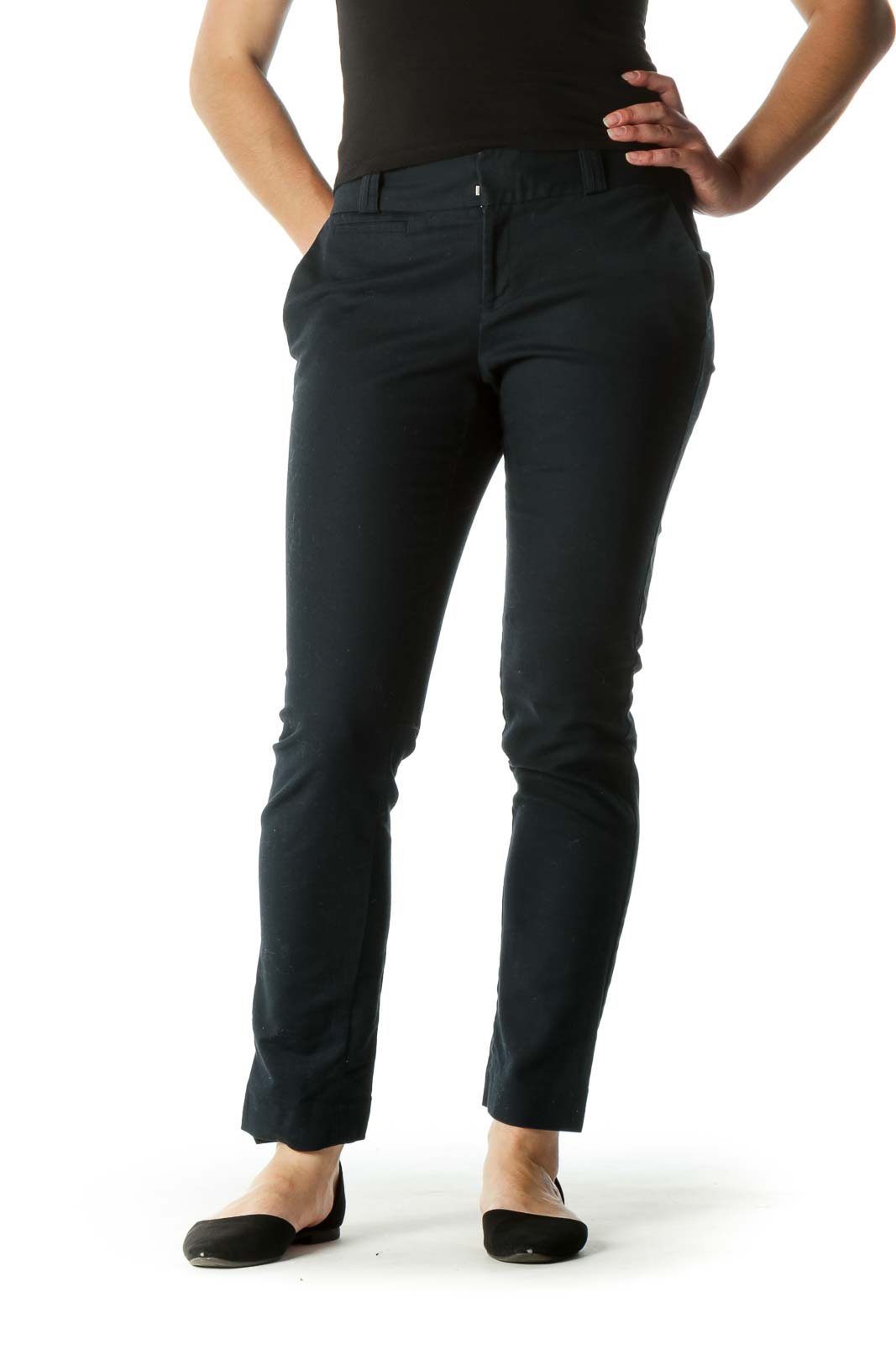 Blue Pocketed Tapered Pants