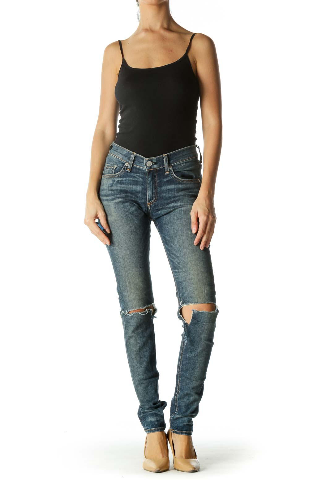 Blue Medium Wash Distressed Stretch Denim Skinny Jeans