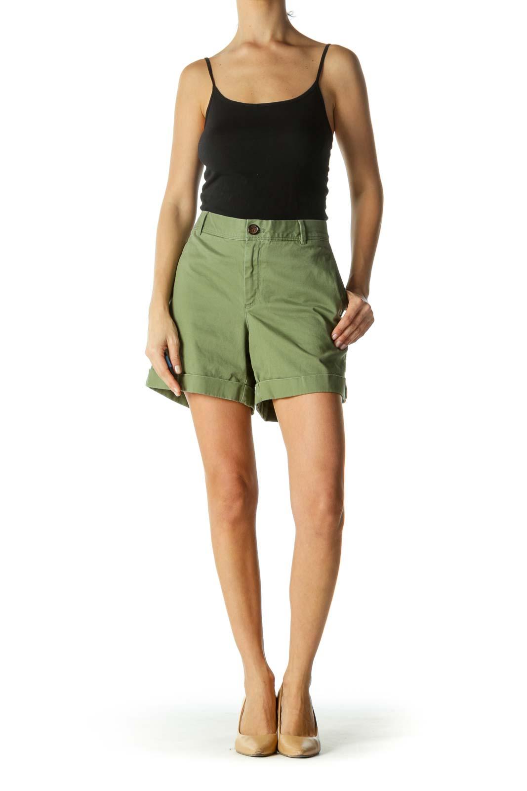Green Pocketed Folded Hem Shorts