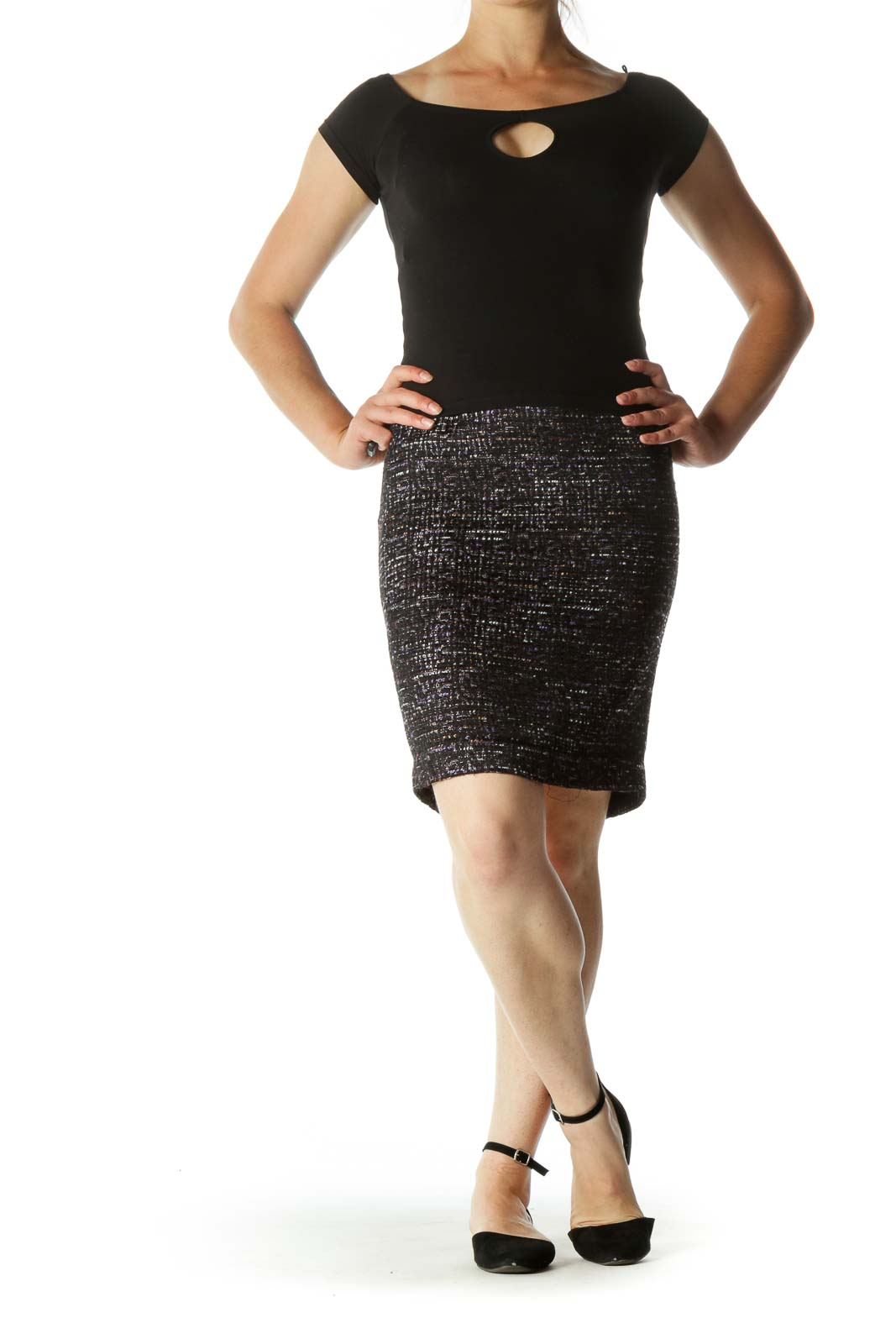 Black and Purple Pencil Skirt