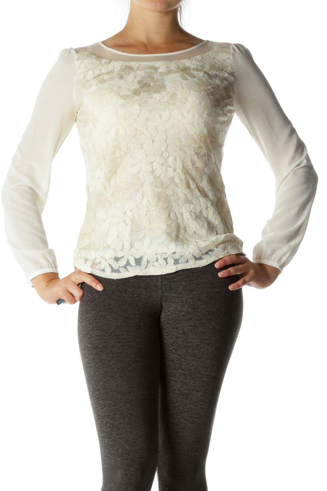 Cream Round Neck Floral Knit Long Sleeve Shirt