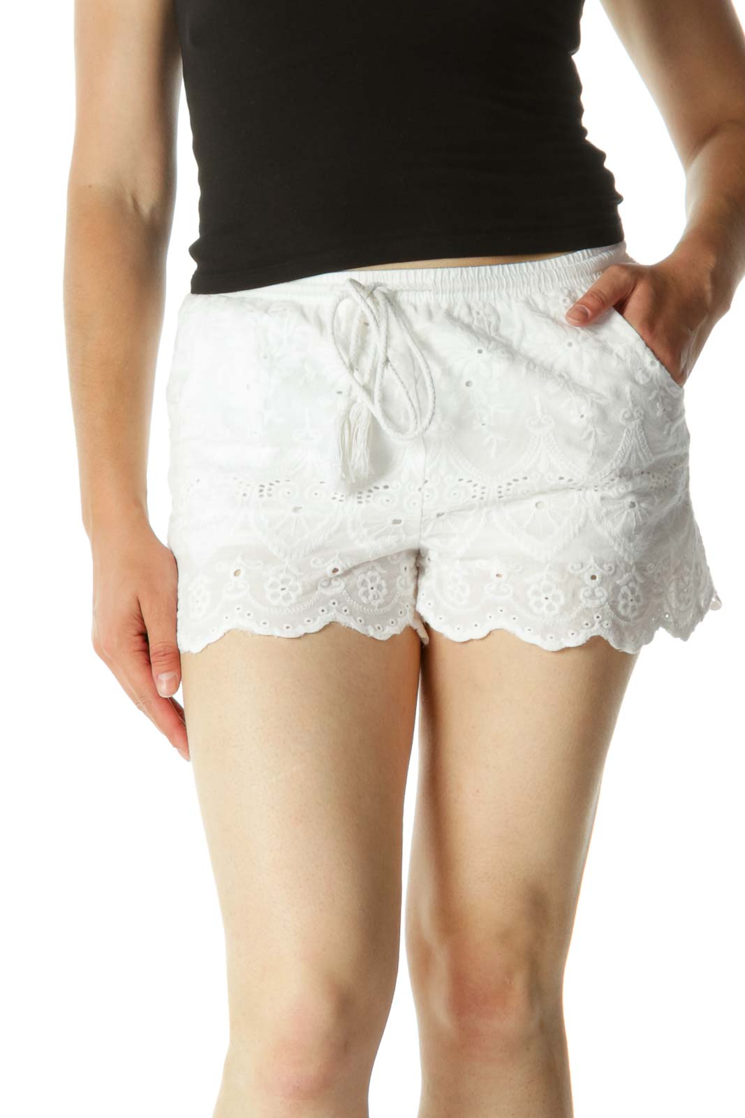 White Embroidered Drawstring Shorts