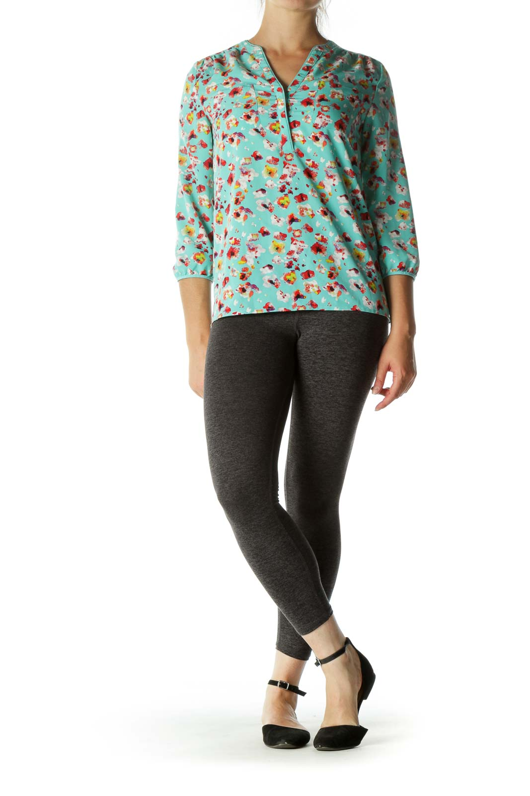 Multicolored V-Neck Print Pockets Shirt