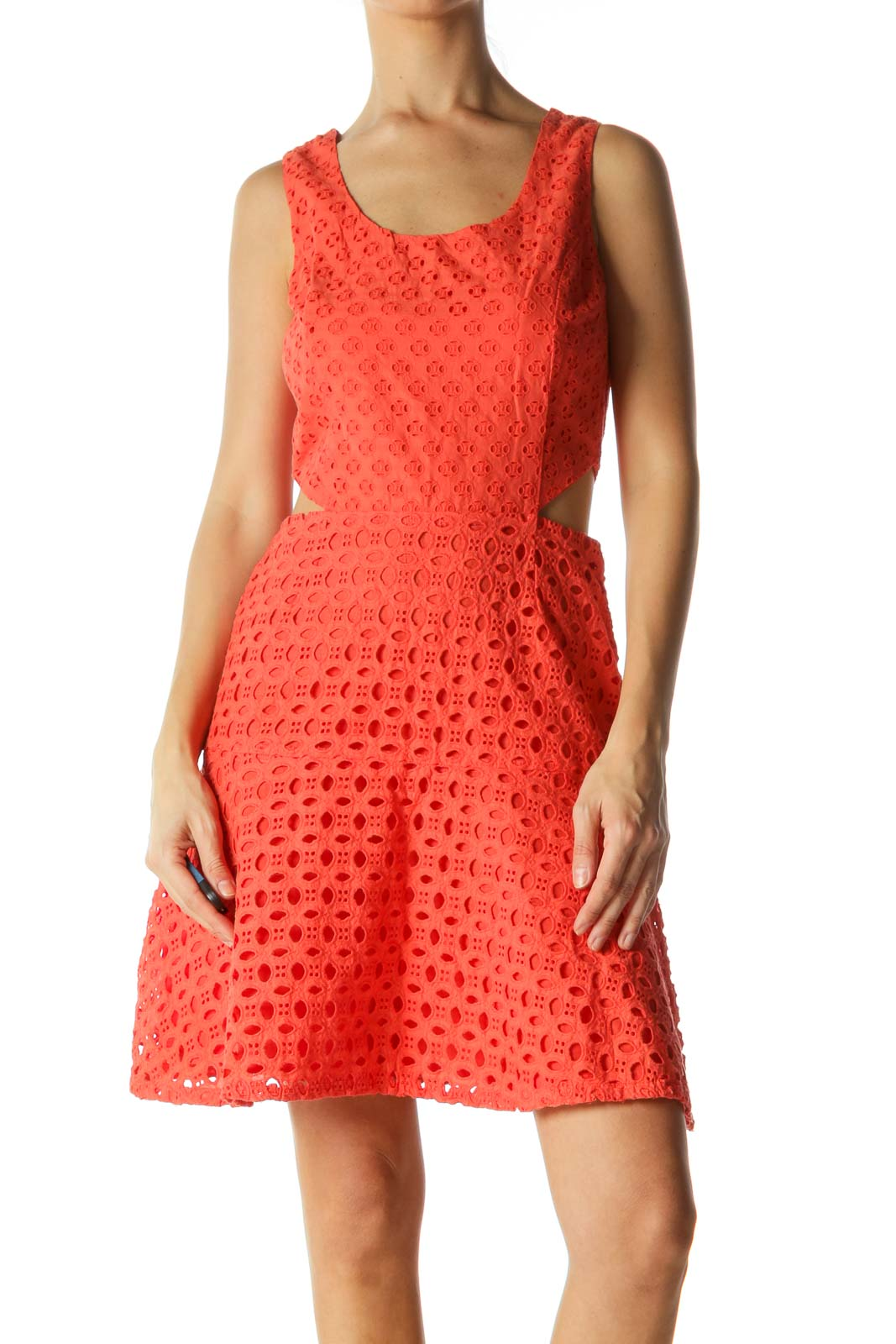 Orange Crocheted Open Waist A-Line Dress