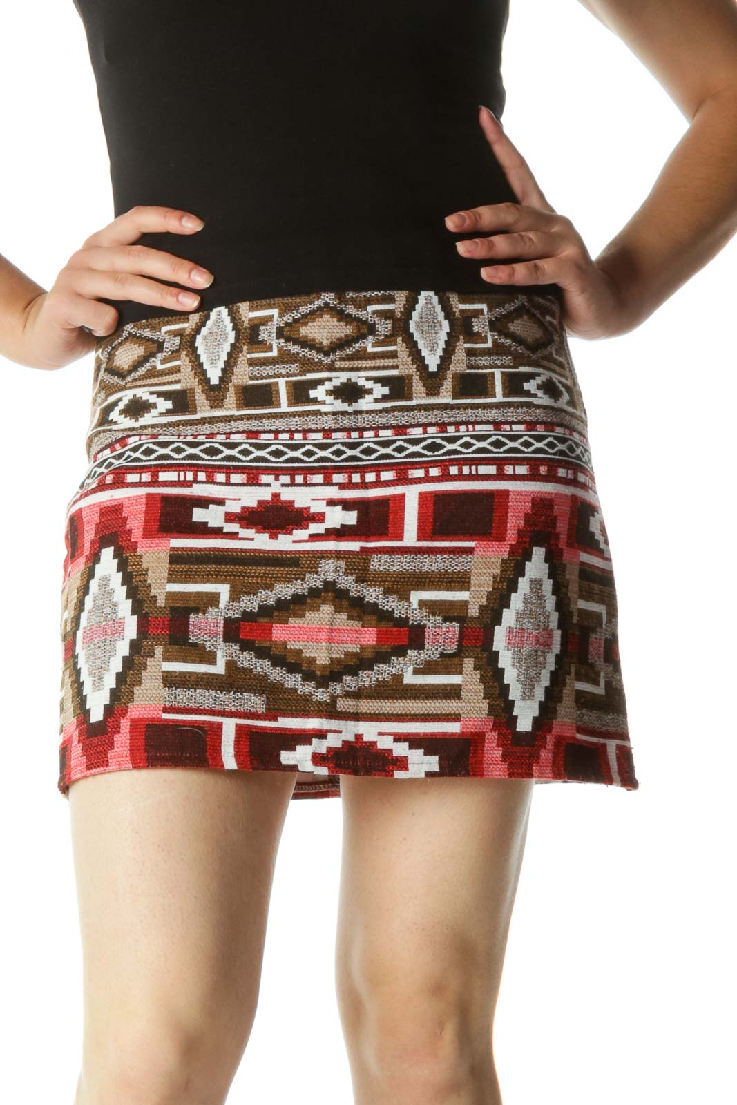 Brown White Orange Aztec Textured Knit Zippered Cinched Waist Skirt