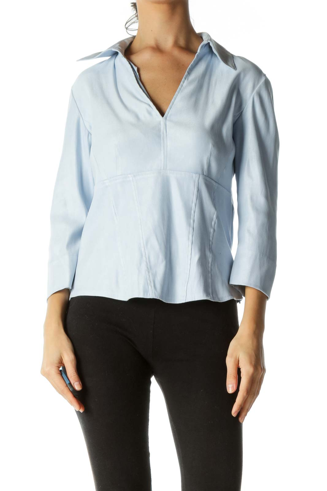 Light Blue V-Neck Faux-Suede Soft-Feel Long Sleeve Top