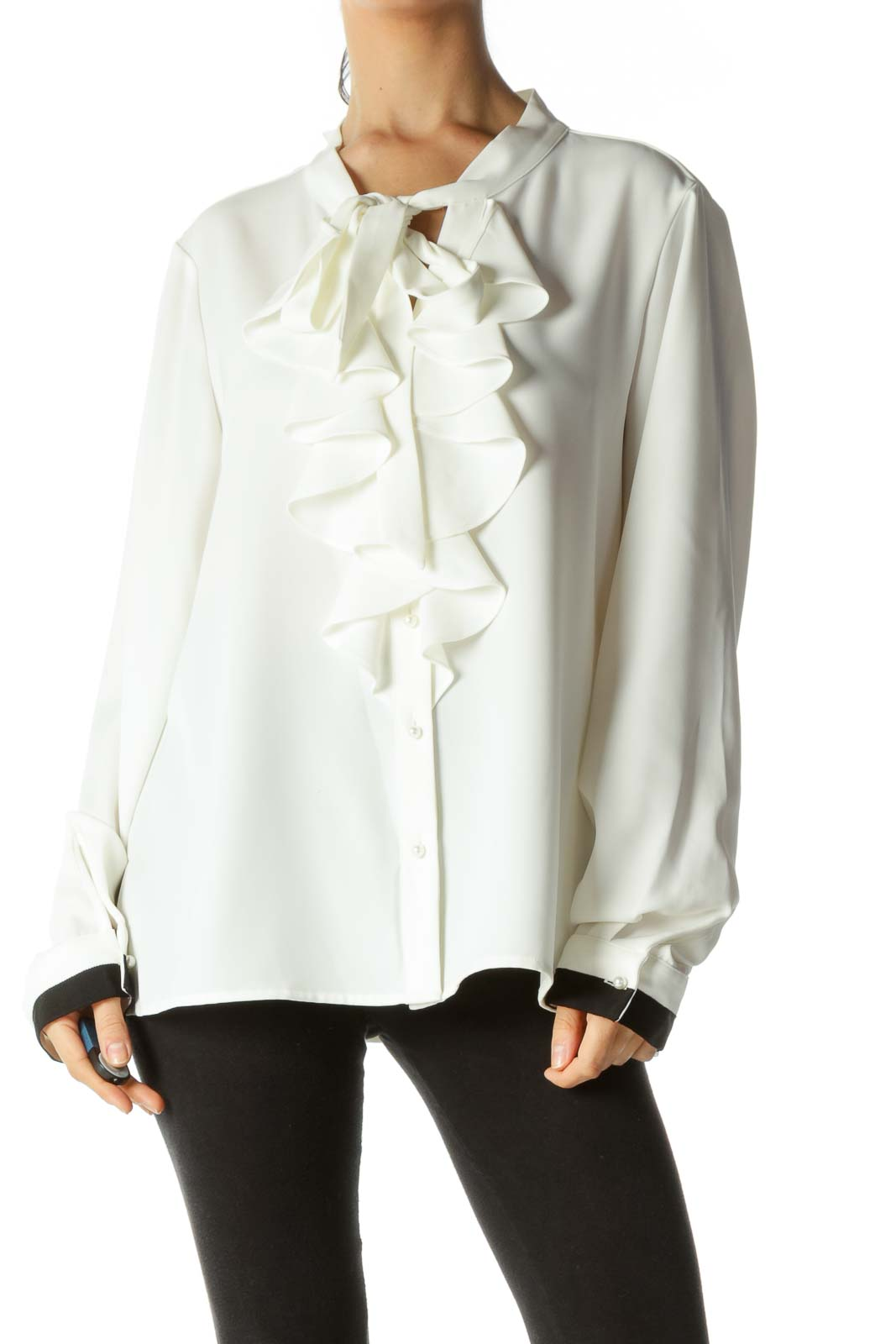 Cream Black Trim Faux-Pearl Buttons V-Neck Ruffled Shirt