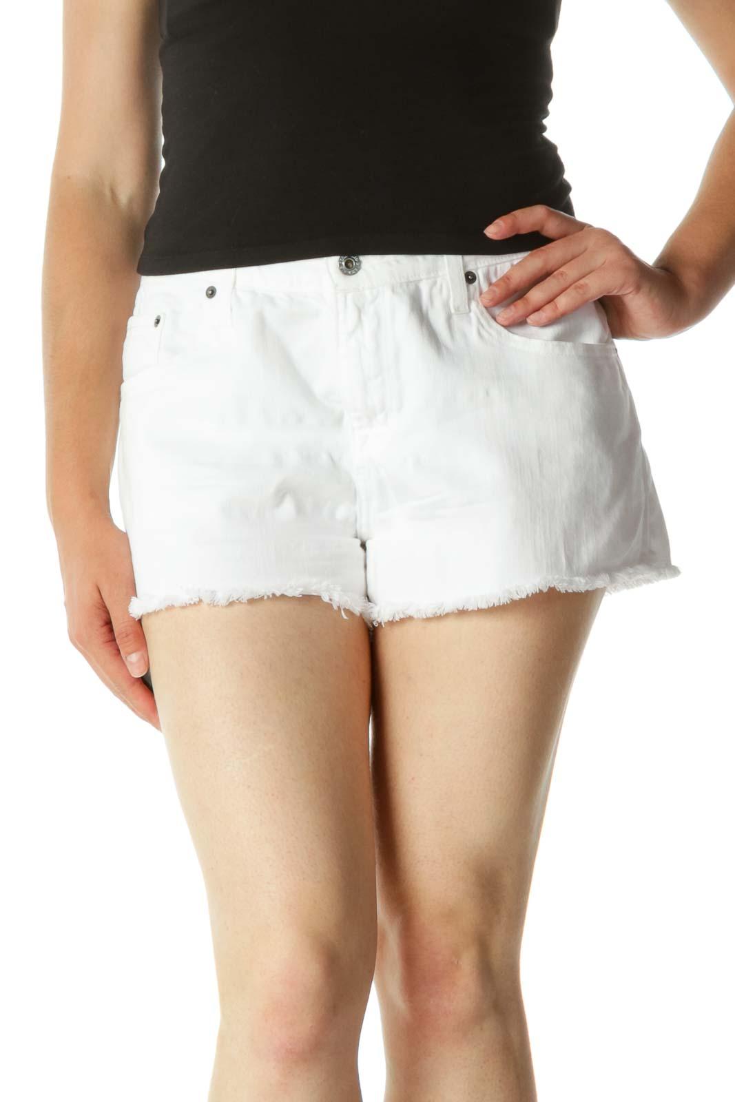 White Raw Hem Cotton Denim Shorts