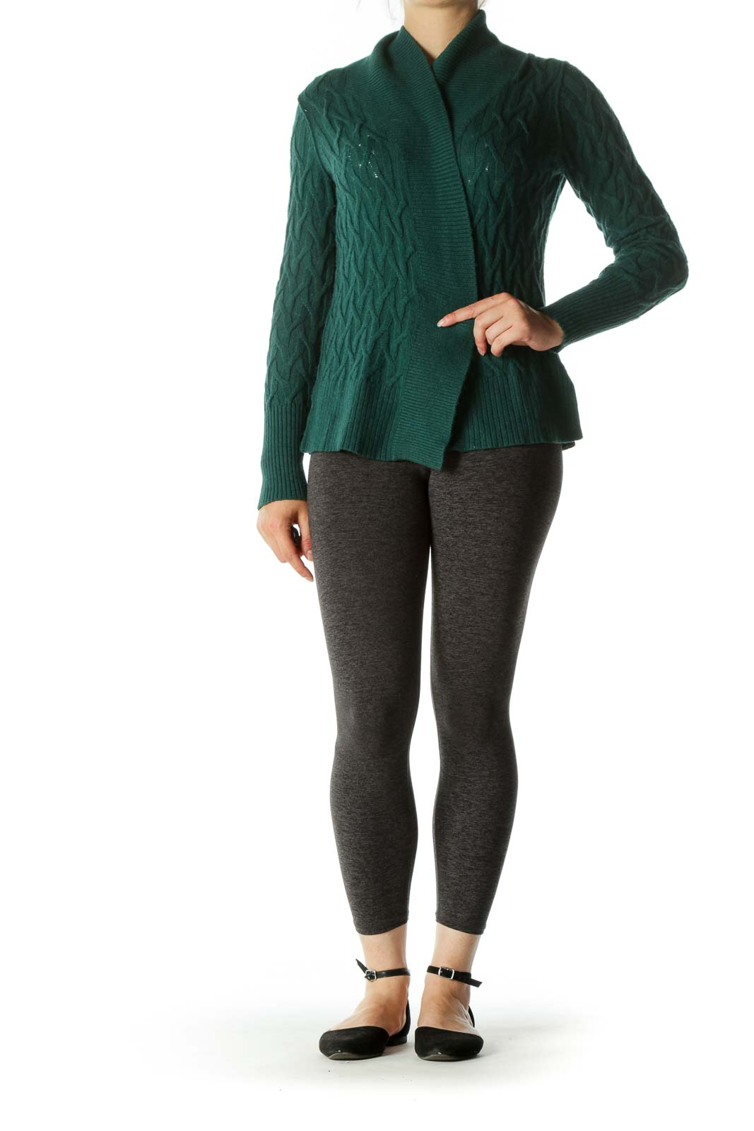 Forest Green Knit Open Cardigan
