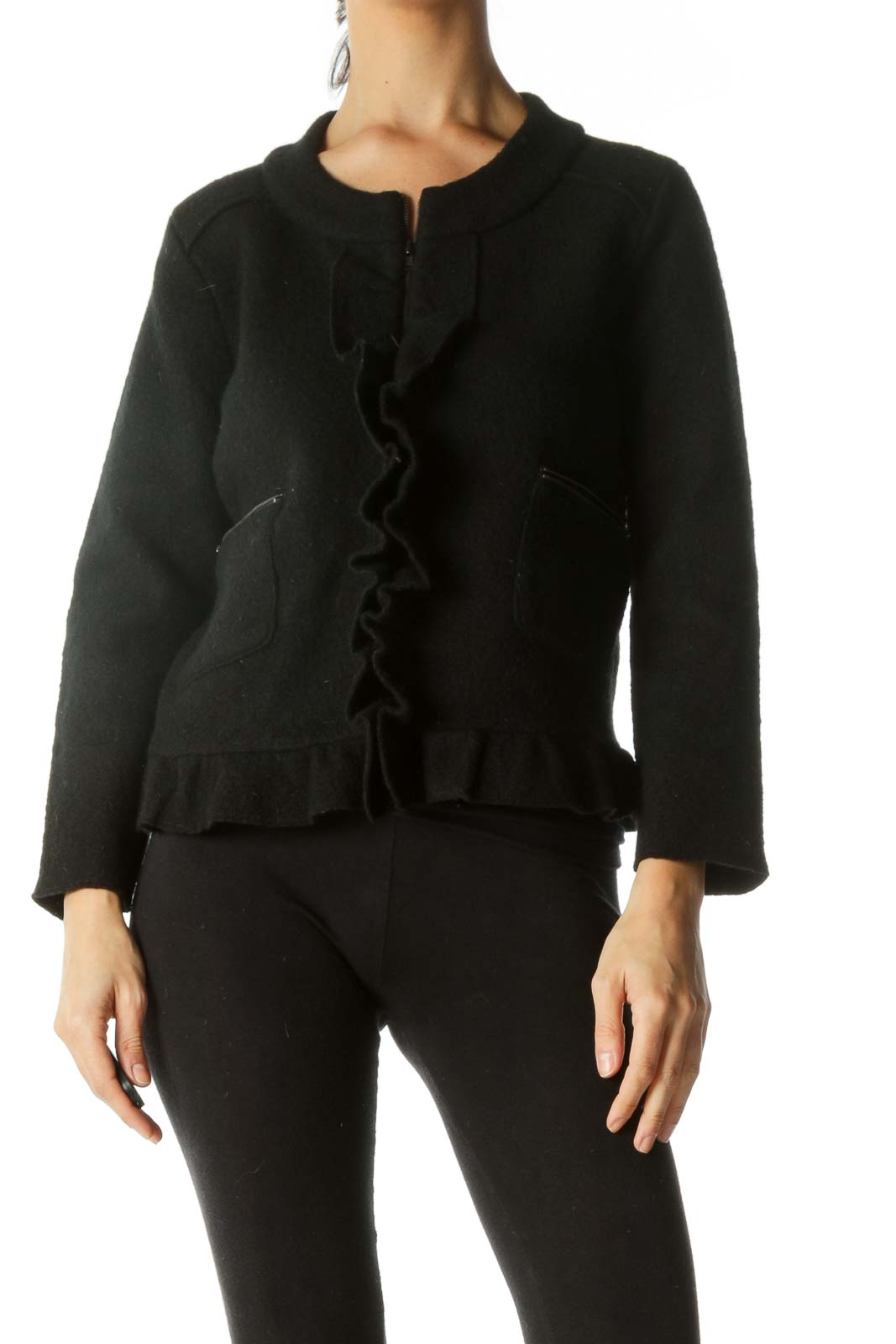 Black Ruffle Detail Jacket