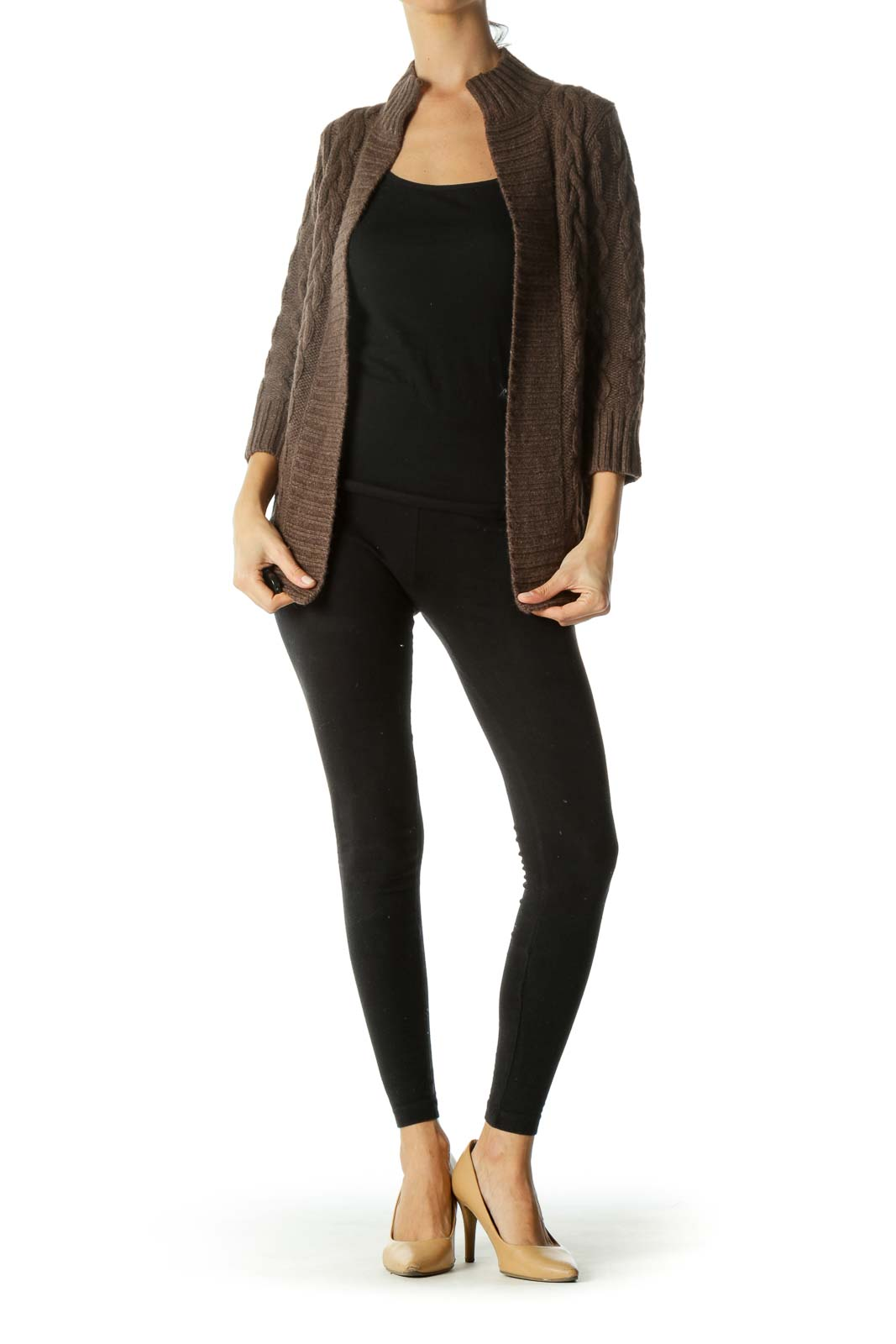 Brown Knit Chunky Open Cardigan