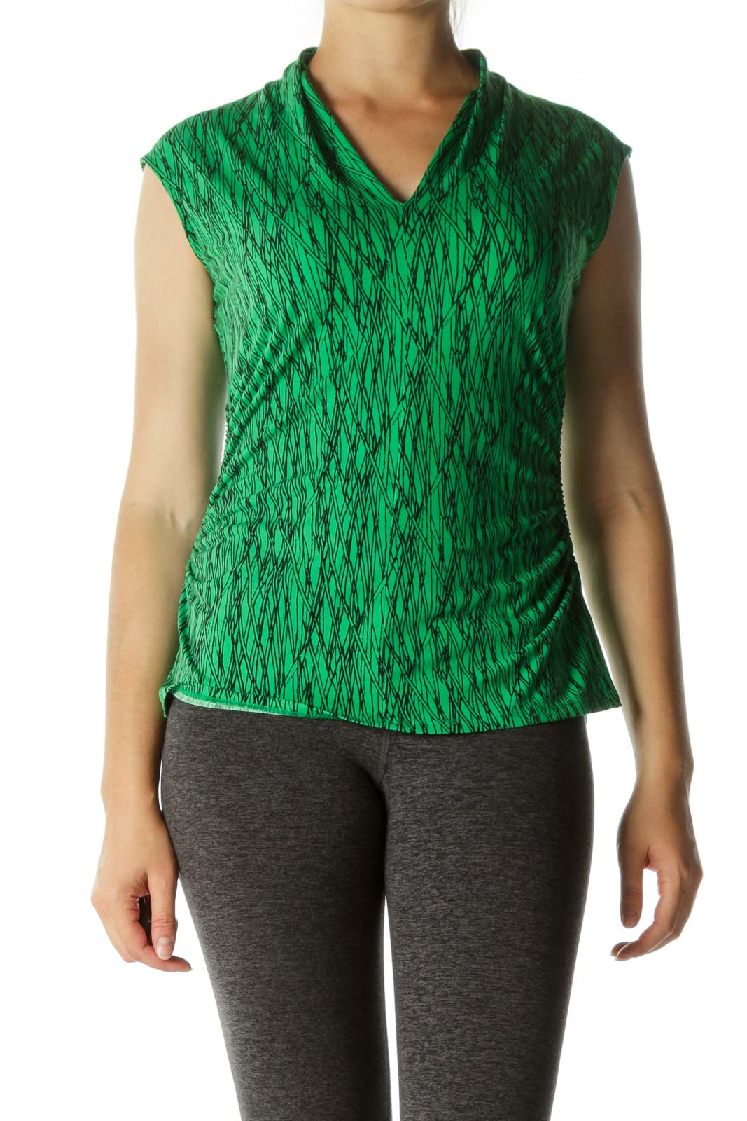 Green Black Pattern Side Ruched Top