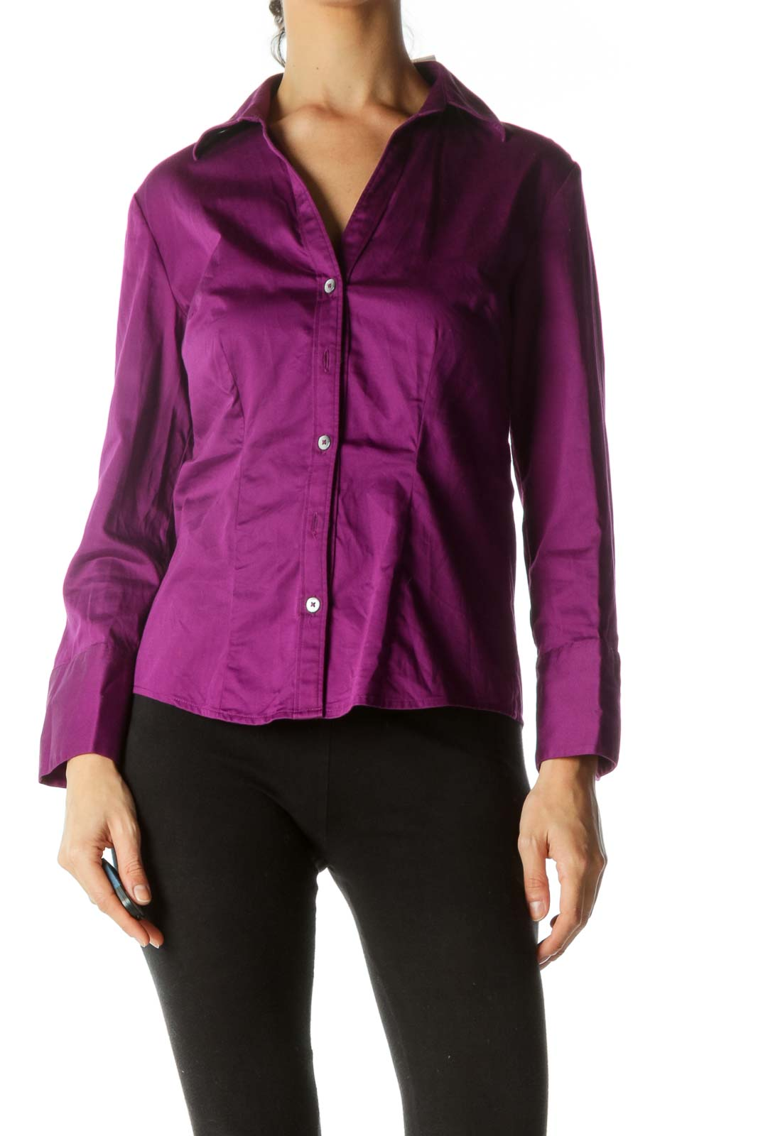 Purple Long Sleeve Button Down Blouse