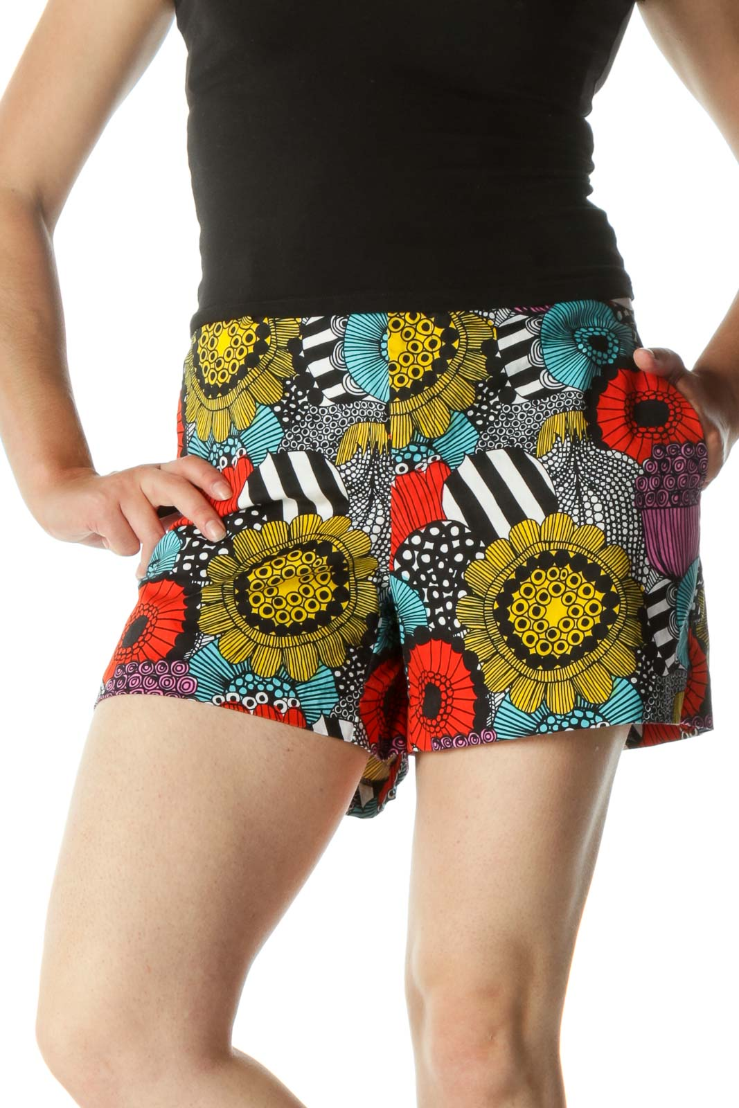 Multicolored Floral Print Shorts