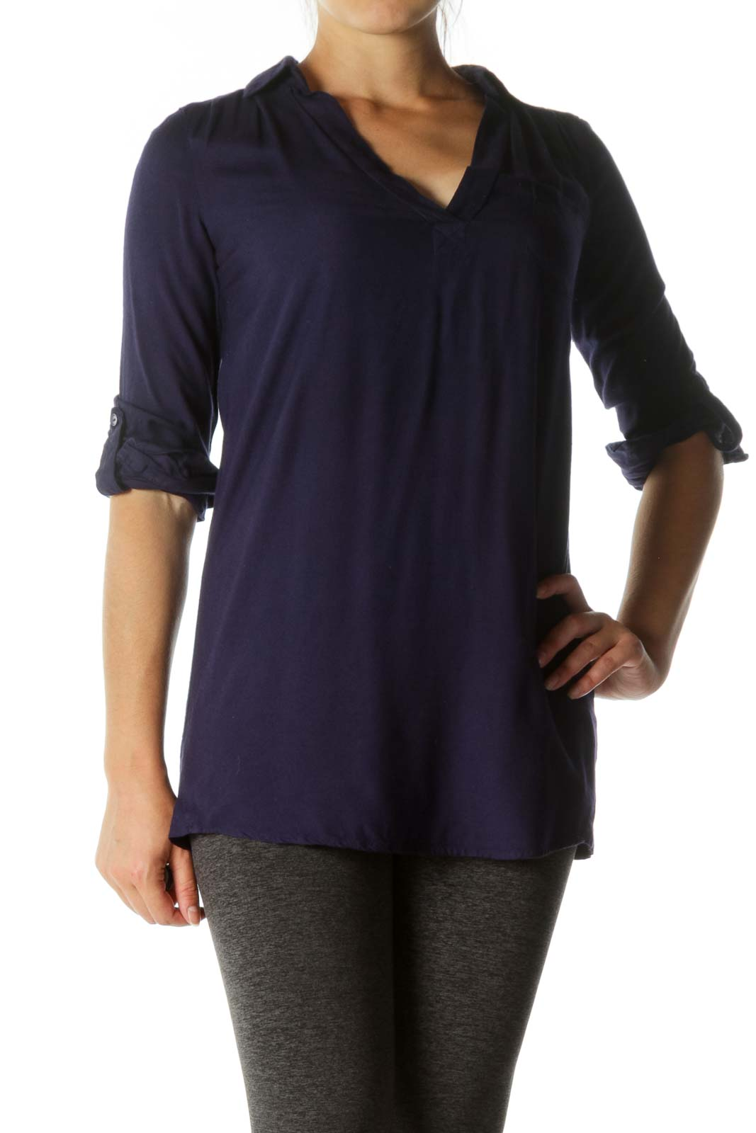 Deep Blue V-Neck Long Sleeve Long Soft Shirt