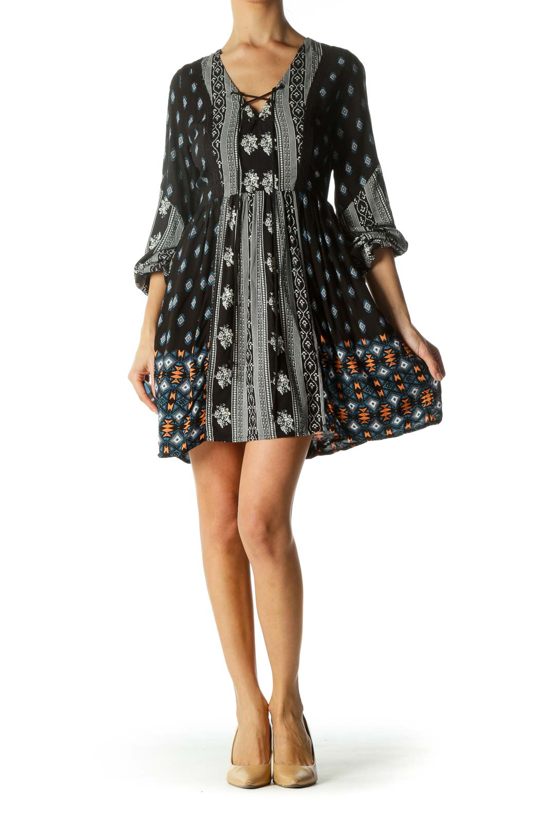 Black Printed Drawstring Day Dress